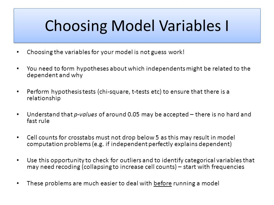 Choosing Model Variables I