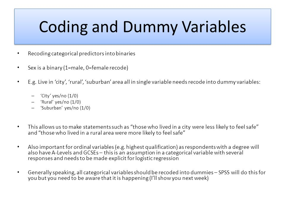 Coding and Dummy Variables
