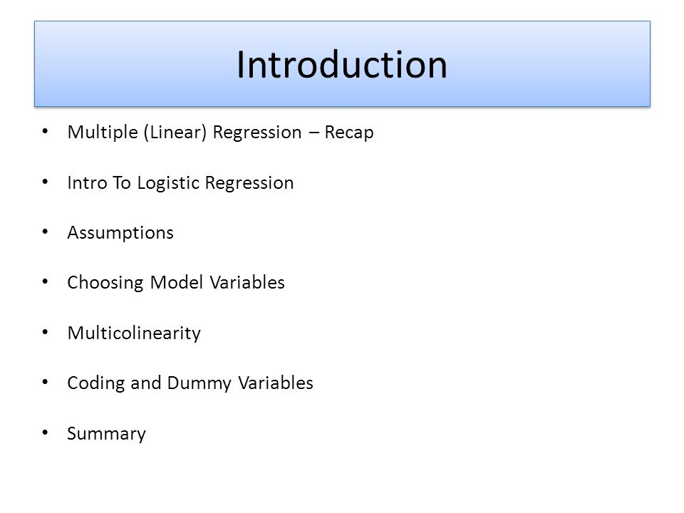 Introduction Multiple (Linear) Regression – Recap