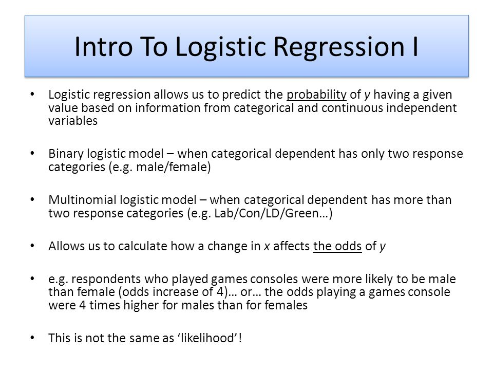 Intro To Logistic Regression I
