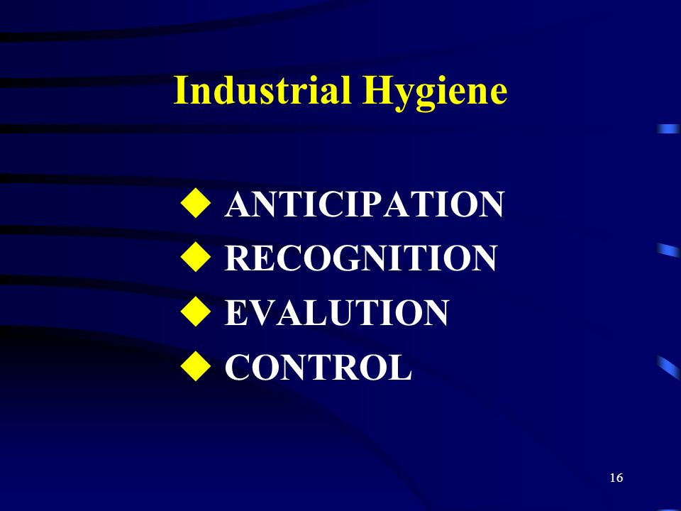 Industrial Hygiene ANTICIPATION RECOGNITION EVALUTION CONTROL