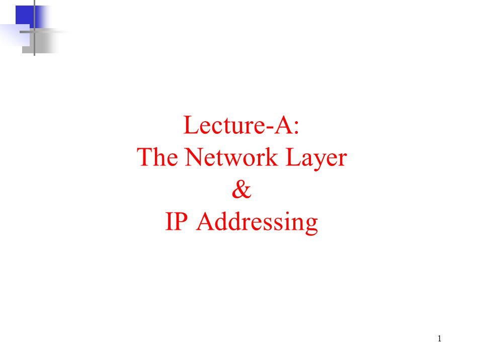 Lecture-A: The Network Layer & IP Addressing