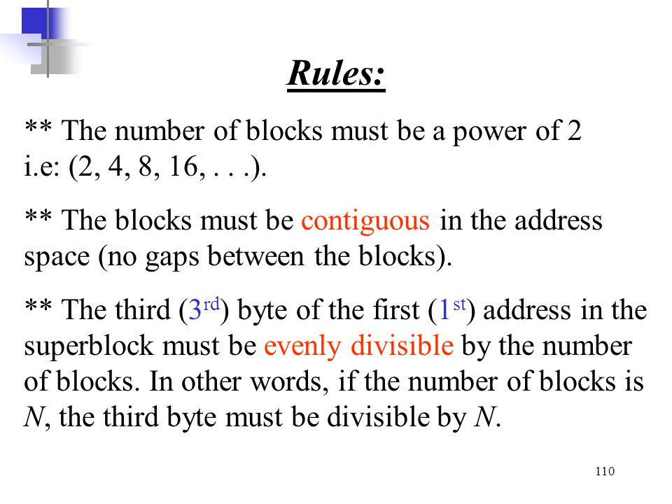 Rules: ** The number of blocks must be a power of 2 i.e: (2, 4, 8, 16, . . .).