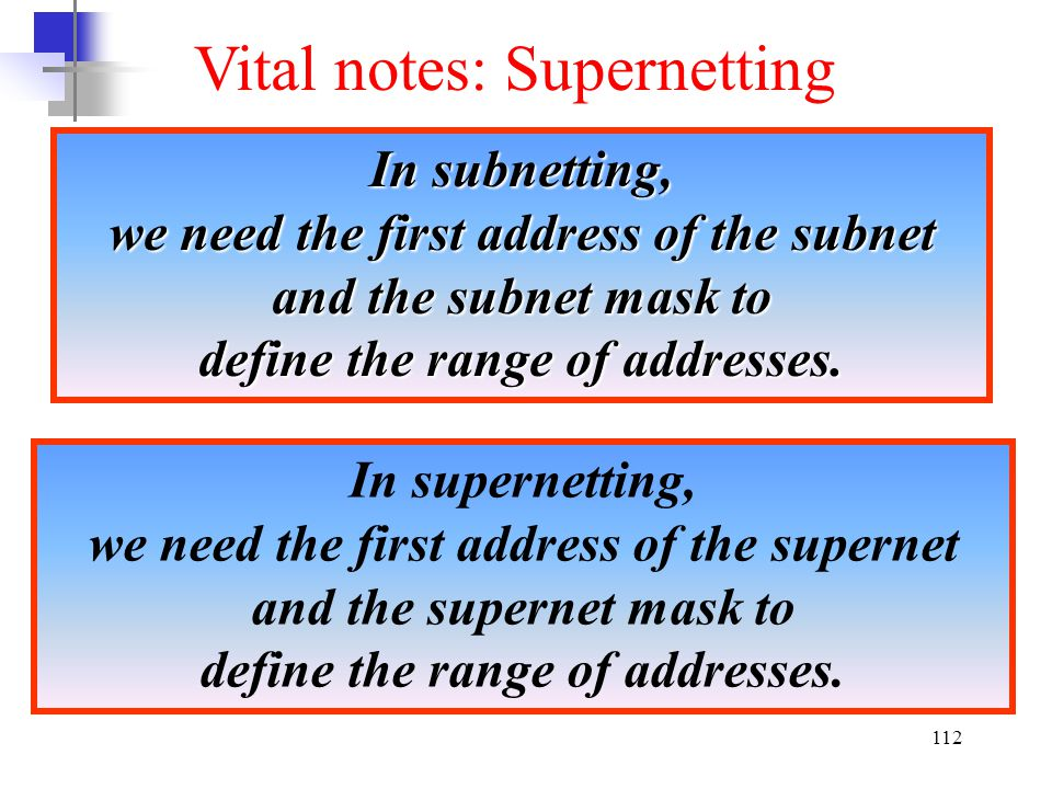 Vital notes: Supernetting
