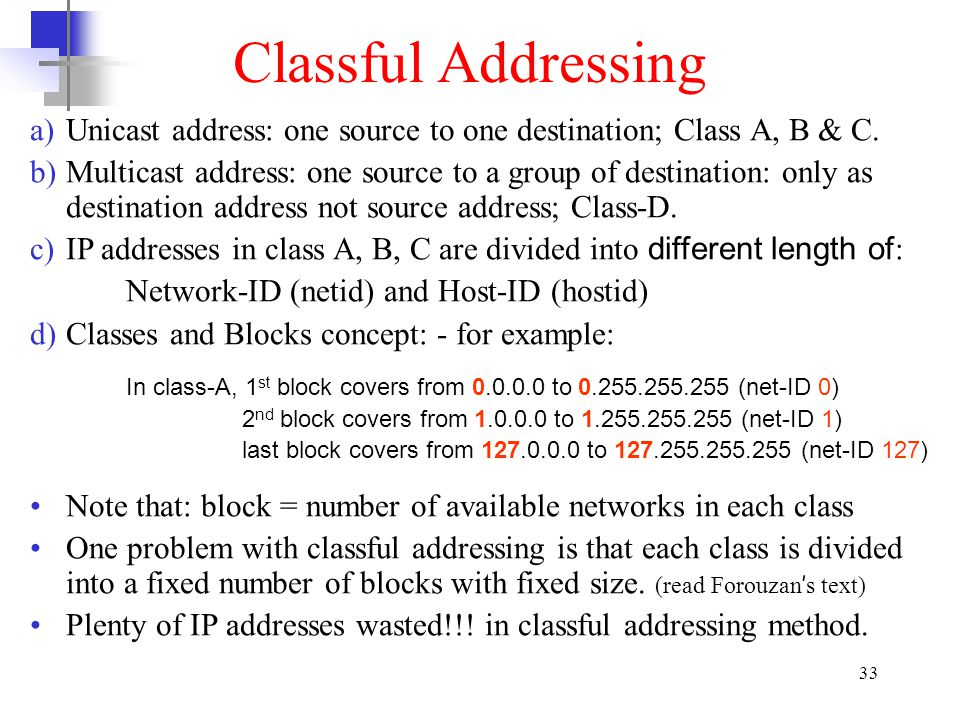 Classful Addressing Unicast address: one source to one destination; Class A, B & C.