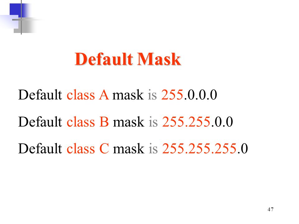 Default Mask Default class A mask is 255.0.0.0