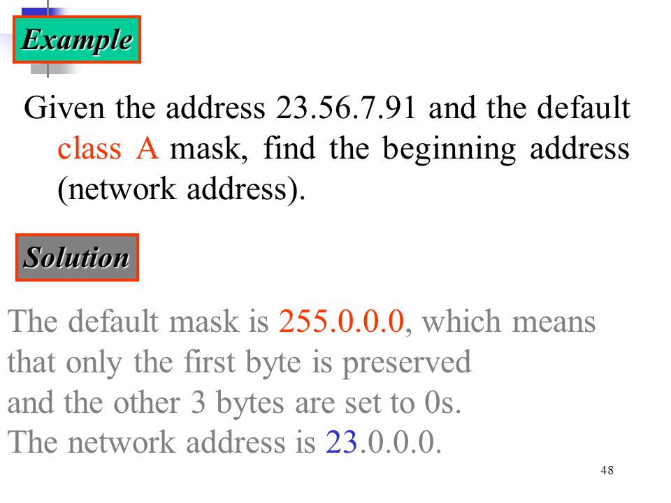 The default mask is 255.0.0.0, which means