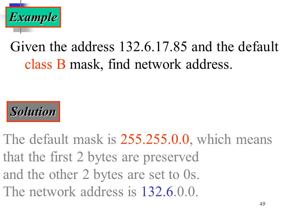 The default mask is 255.255.0.0, which means