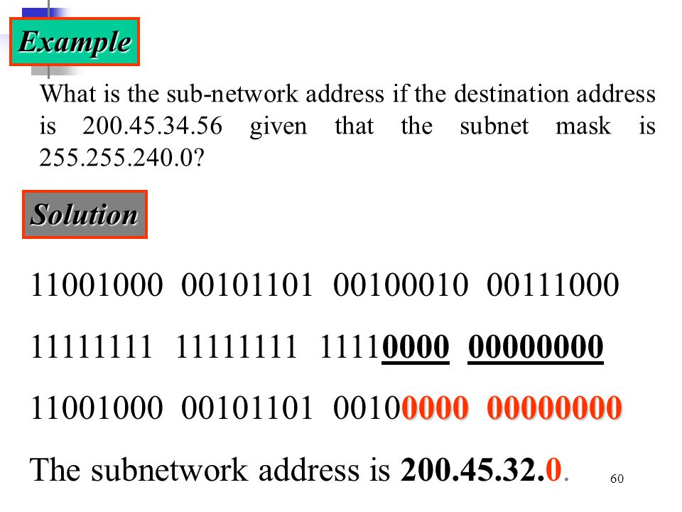 Example What is the sub-network address if the destination address is 200.45.34.56 given that the subnet mask is 255.255.240.0