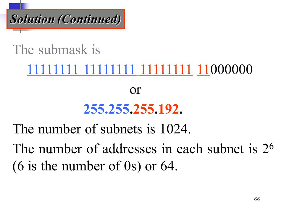 The number of subnets is 1024.