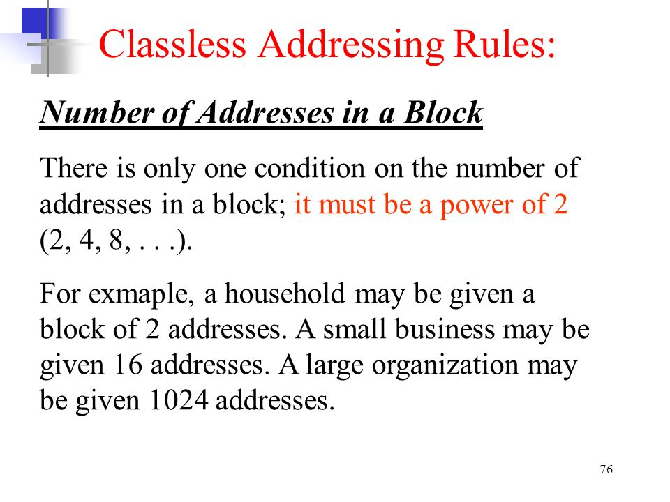 Classless Addressing Rules: