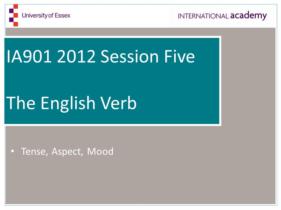 IA Session Five The English Verb