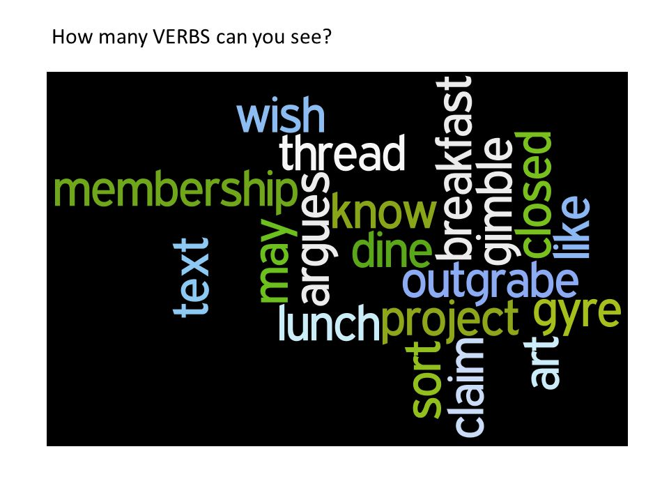 How many VERBS can you see