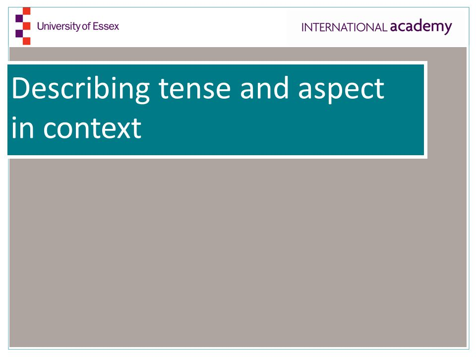 Describing tense and aspect in context