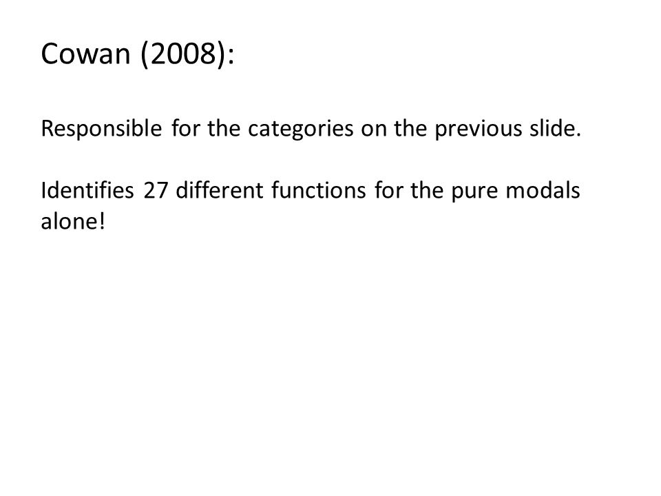 Cowan (2008): Responsible for the categories on the previous slide.