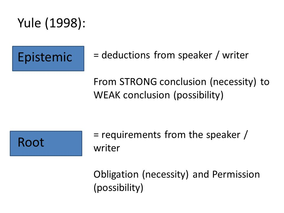 Yule (1998): Epistemic Root = deductions from speaker / writer