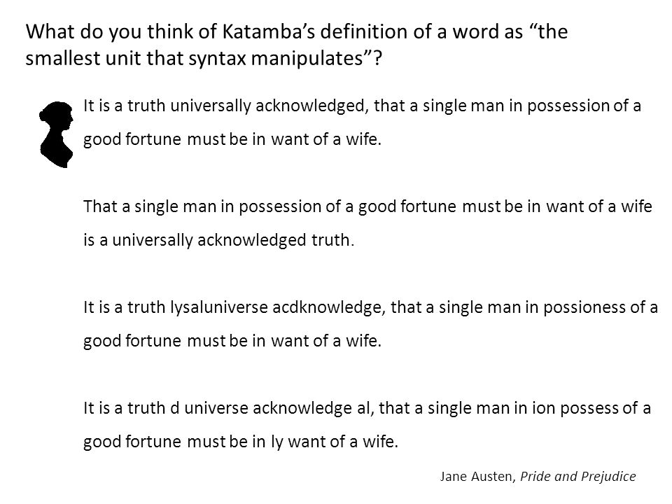 What do you think of Katamba's definition of a word as the smallest unit that syntax manipulates