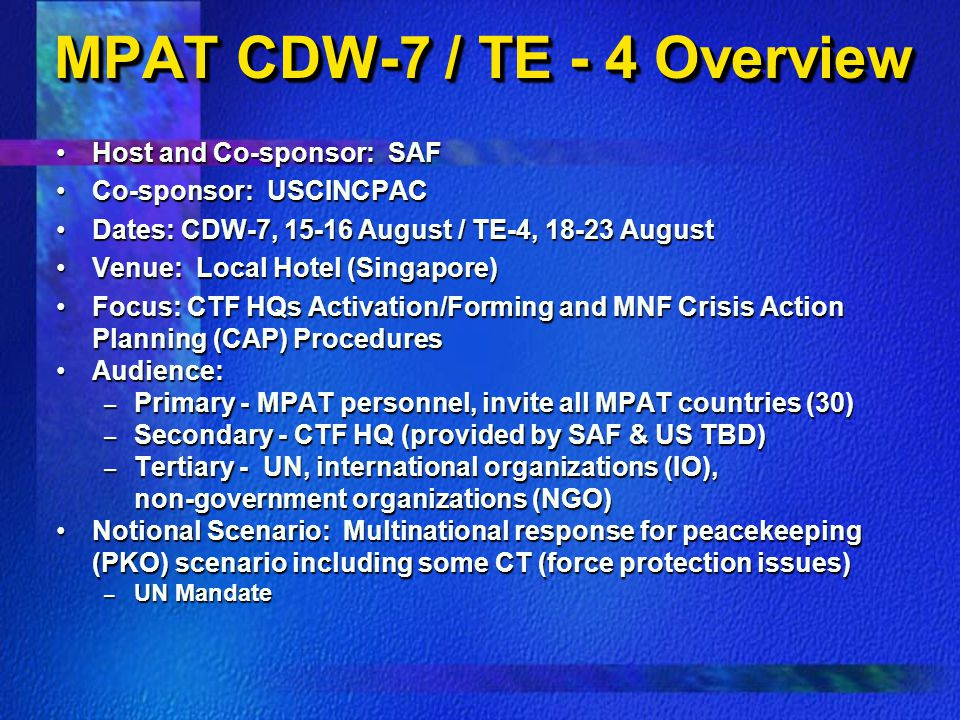 MPAT CDW-7 / TE - 4 Overview
