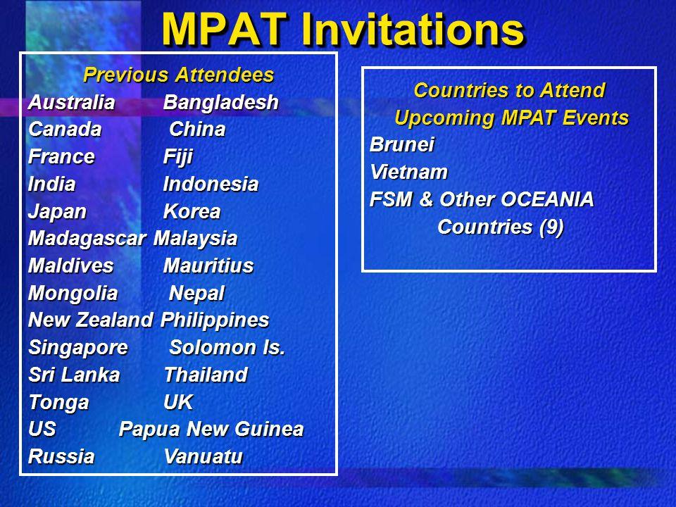 MPAT Invitations Previous Attendees Australia Bangladesh Canada China