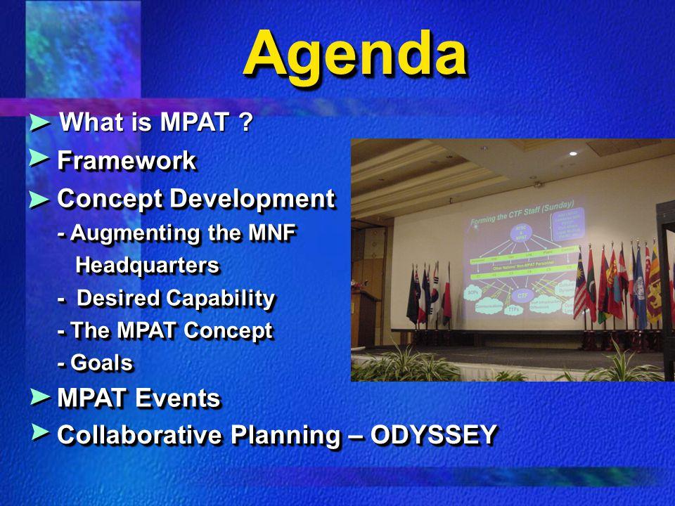 Agenda What is MPAT Framework Concept Development MPAT Events