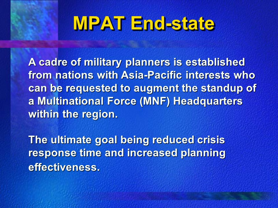 MPAT End-state