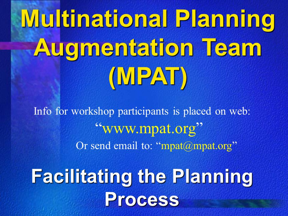 Multinational Planning Augmentation Team (MPAT)