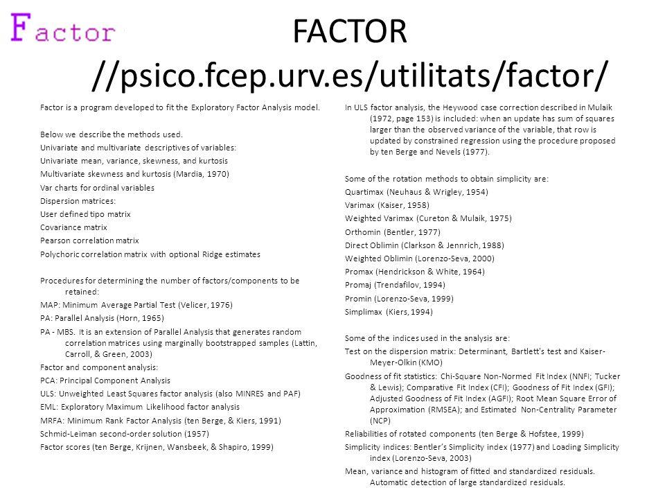 FACTOR //psico.fcep.urv.es/utilitats/factor/