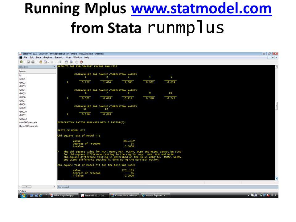 Running Mplus www.statmodel.com from Stata runmplus