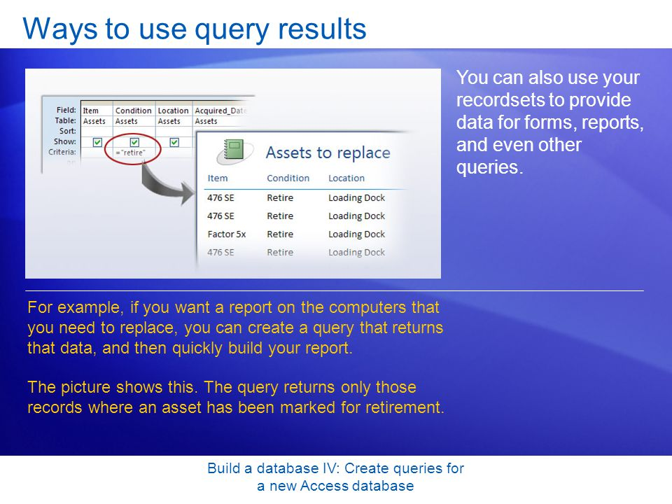 Ways to use query results