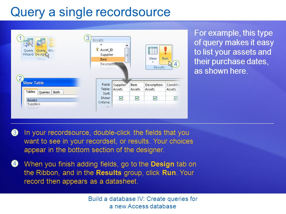 Query a single recordsource