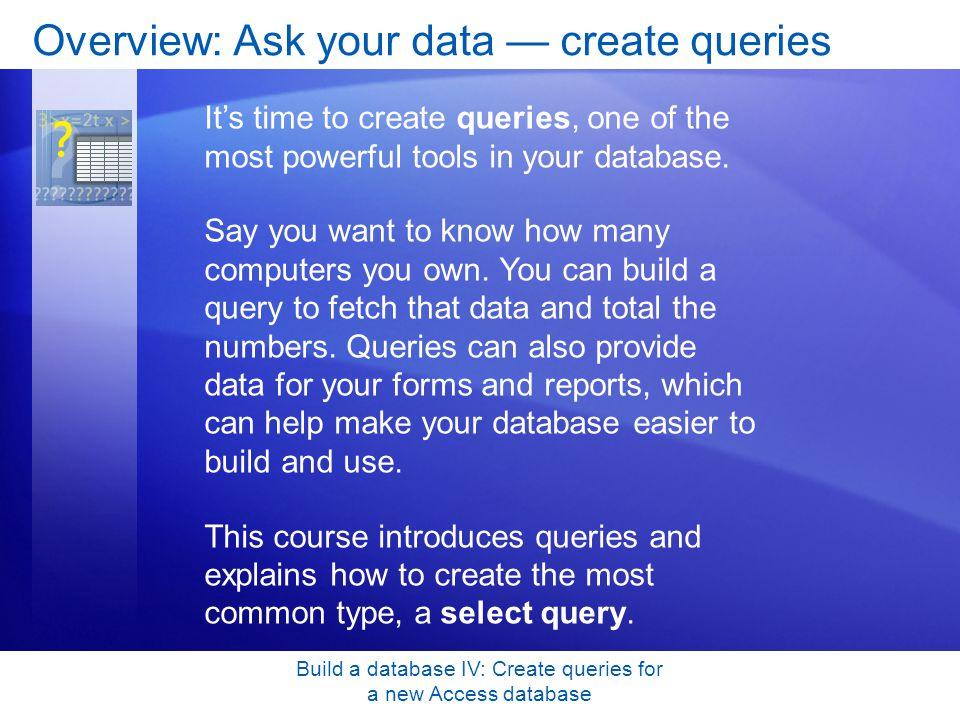 Overview: Ask your data — create queries
