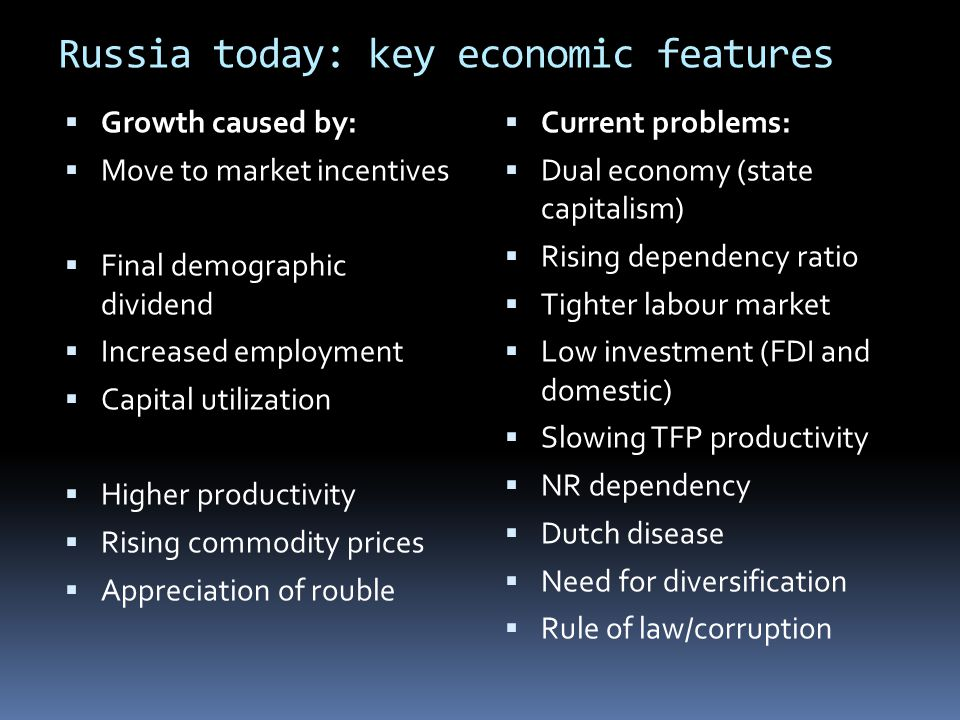 Russia today: key economic features