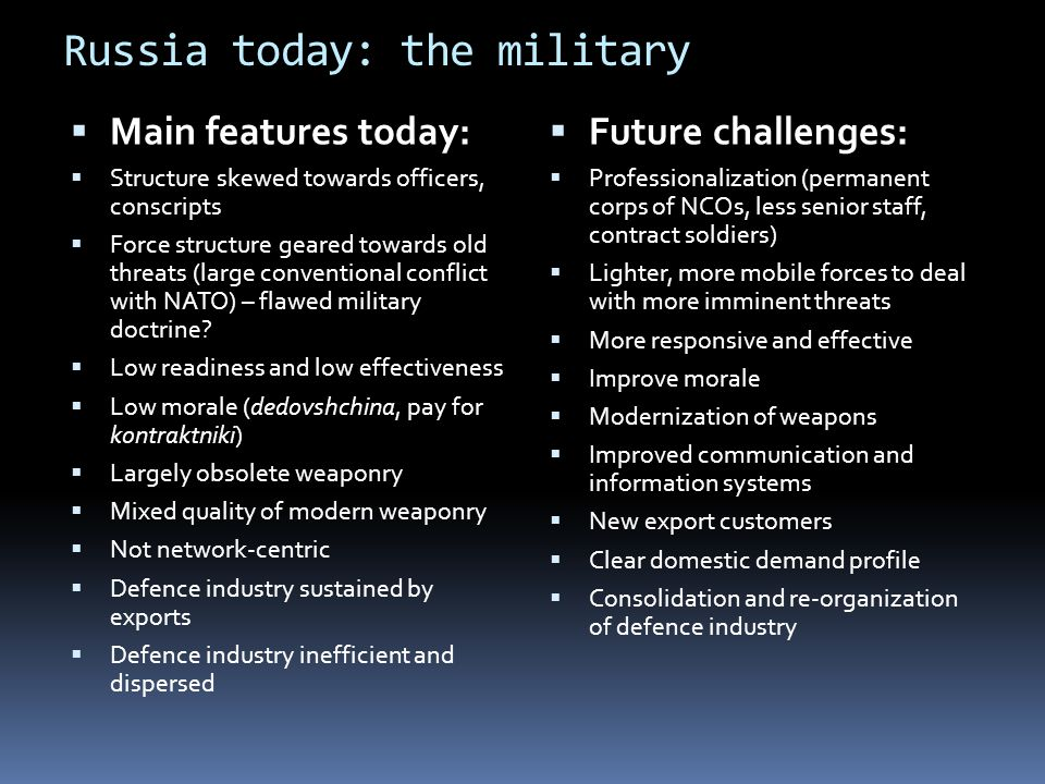 Russia today: the military