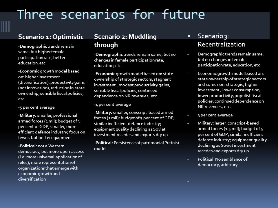 Three scenarios for future