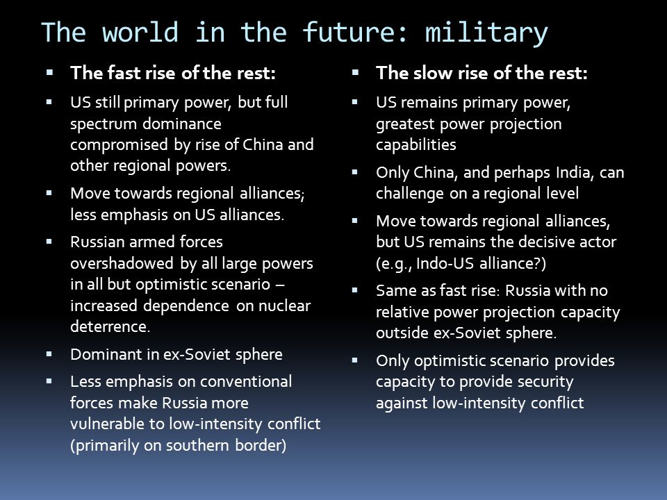 The world in the future: military