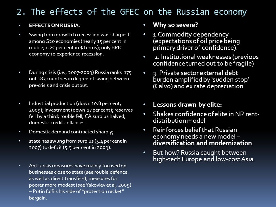 2. The effects of the GFEC on the Russian economy