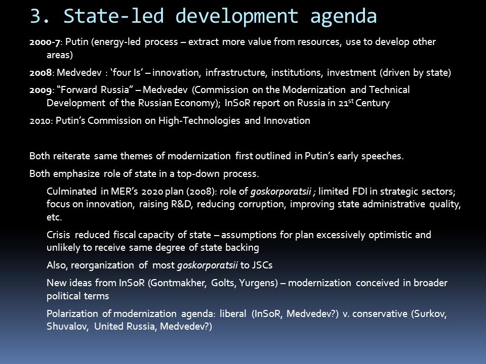 3. State-led development agenda