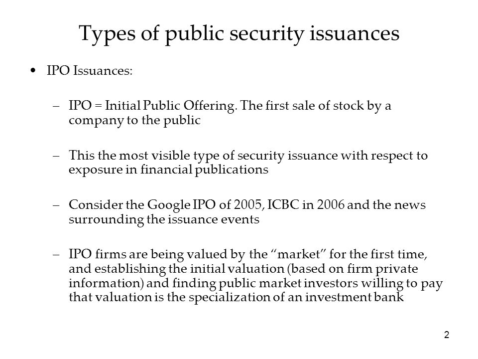 Types of public security issuances