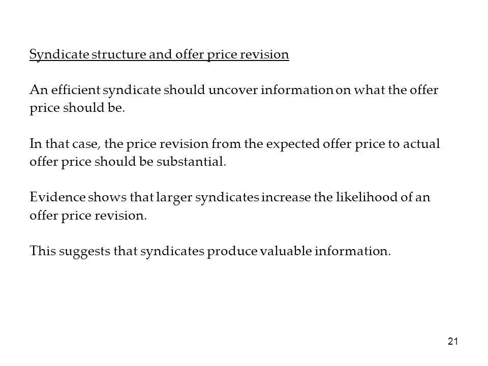 Syndicate structure and offer price revision