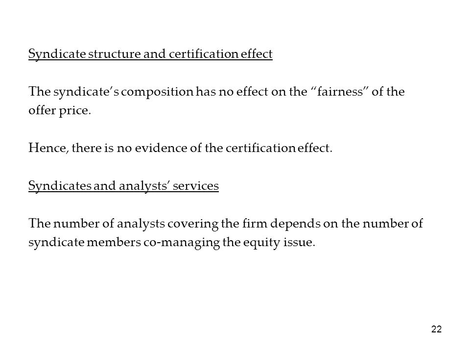 Syndicate structure and certification effect