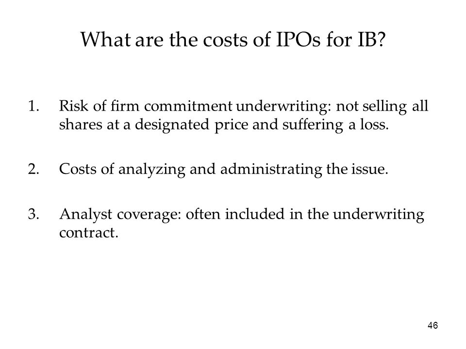 What are the costs of IPOs for IB