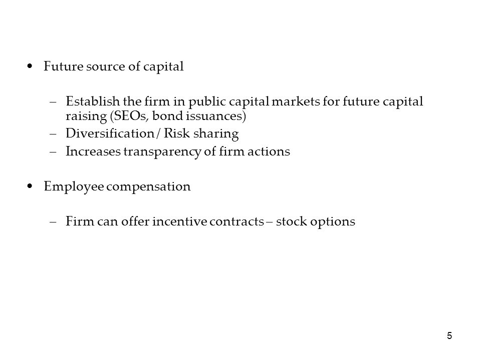 Future source of capital