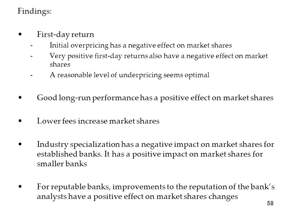 Good long-run performance has a positive effect on market shares