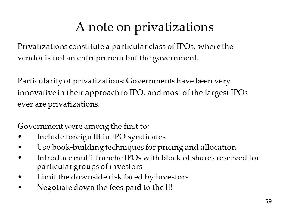 A note on privatizations