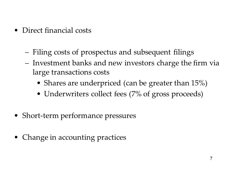 Direct financial costs