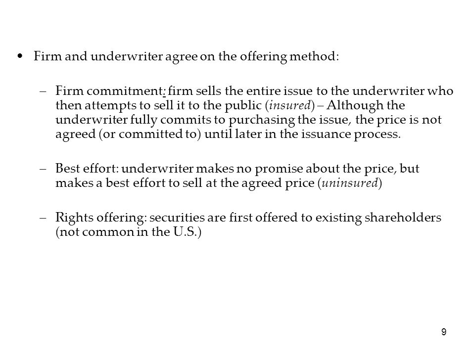 Firm and underwriter agree on the offering method: