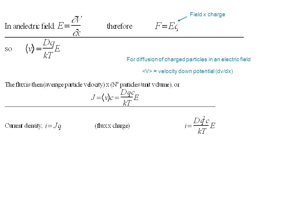 Field x charge For diffusion of charged particles in an electric field.