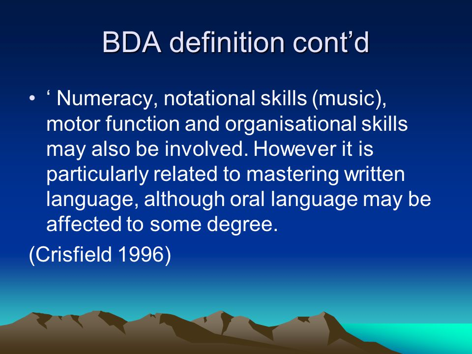 BDA definition cont'd
