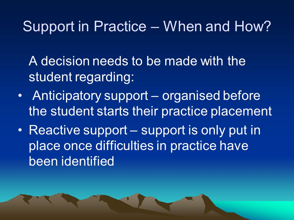 Support in Practice – When and How