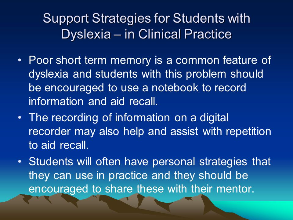 Support Strategies for Students with Dyslexia – in Clinical Practice